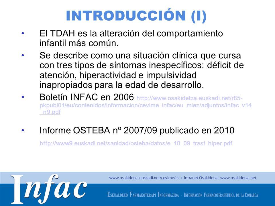 http://www.osakidetza.euskadi.net INTRODUCCIÓN (I) El TDAH es la alteración del comportamiento infantil más común. Se describe como una situación clín