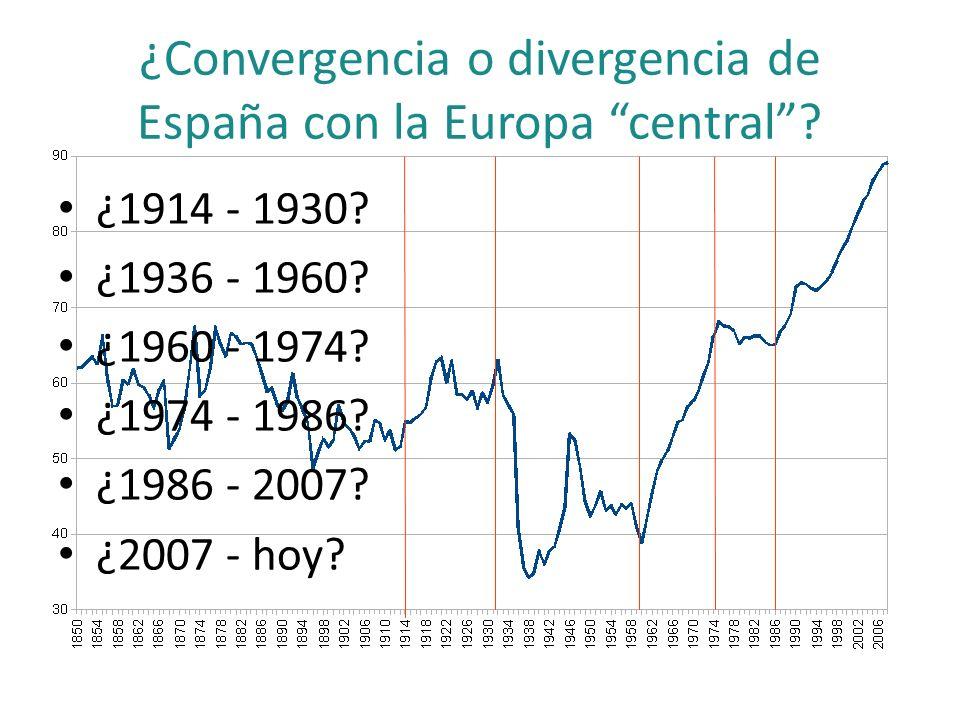 ¿Convergencia o divergencia de España con la Europa central? ¿1914 - 1930? ¿1936 - 1960? ¿1960 - 1974? ¿1974 - 1986? ¿1986 - 2007? ¿2007 - hoy?