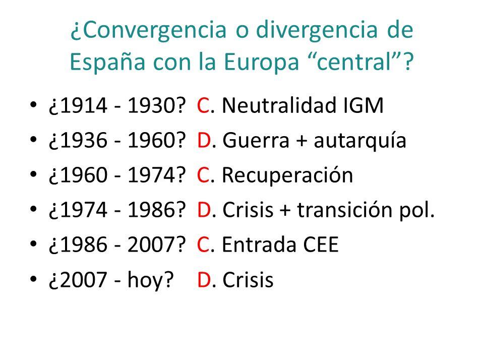 ¿Convergencia o divergencia de España con la Europa central? ¿1914 - 1930? C. Neutralidad IGM ¿1936 - 1960? D. Guerra + autarquía ¿1960 - 1974? C. Rec