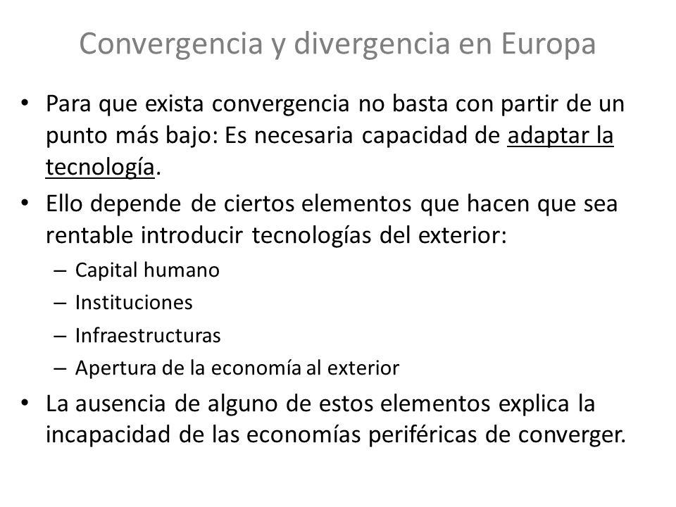 Convergencia y divergencia en Europa Para que exista convergencia no basta con partir de un punto más bajo: Es necesaria capacidad de adaptar la tecno
