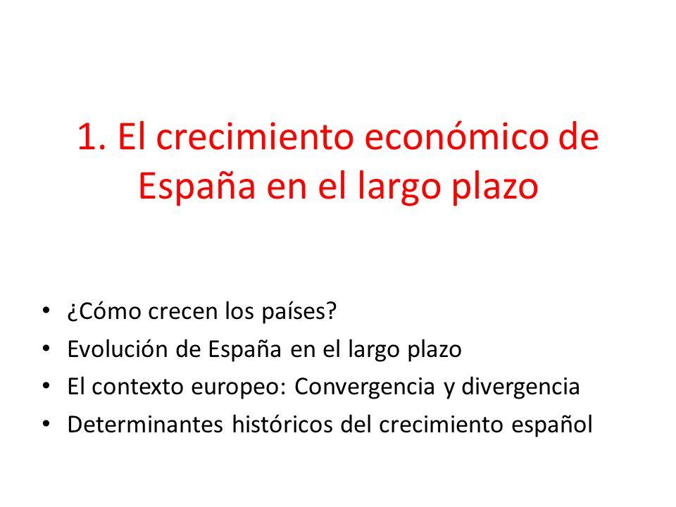 1. El crecimiento económico de España en el largo plazo ¿Cómo crecen los países? Evolución de España en el largo plazo El contexto europeo: Convergenc