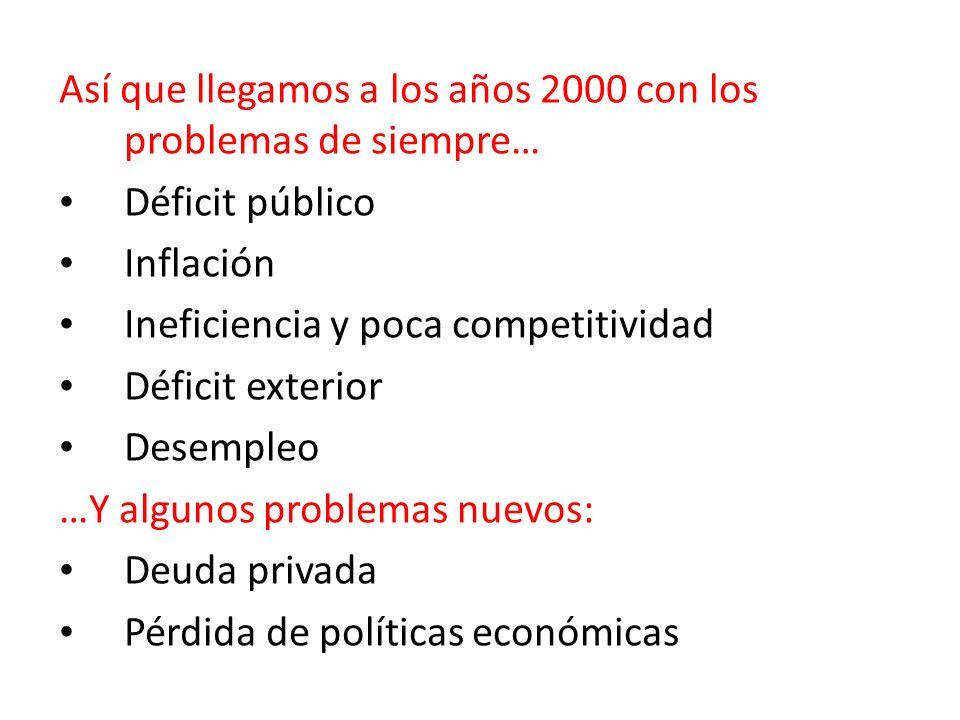 Así que llegamos a los años 2000 con los problemas de siempre… Déficit público Inflación Ineficiencia y poca competitividad Déficit exterior Desempleo