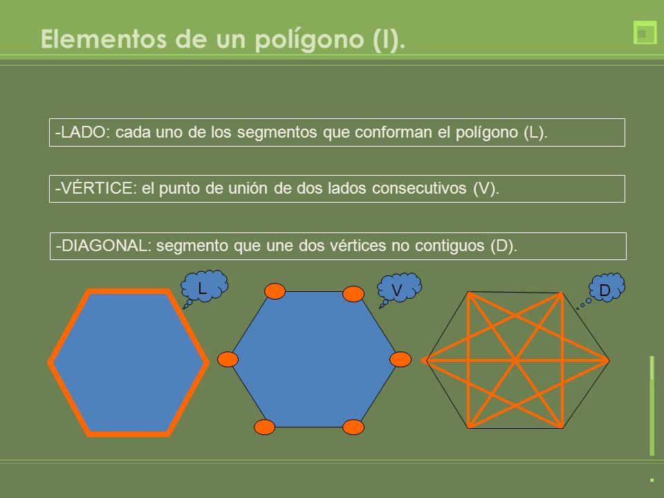 Elementos de un polígono (I). -LADO: cada uno de los segmentos que conforman el polígono (L). -VÉRTICE: el punto de unión de dos lados consecutivos (V