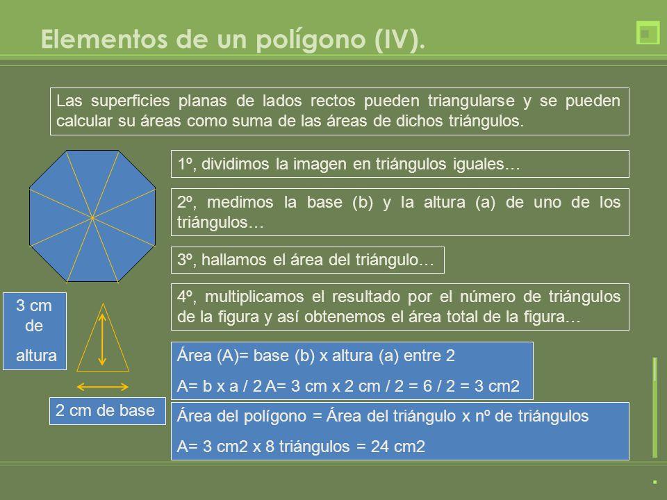 Elementos de un polígono (IV). Las superficies planas de lados rectos pueden triangularse y se pueden calcular su áreas como suma de las áreas de dich