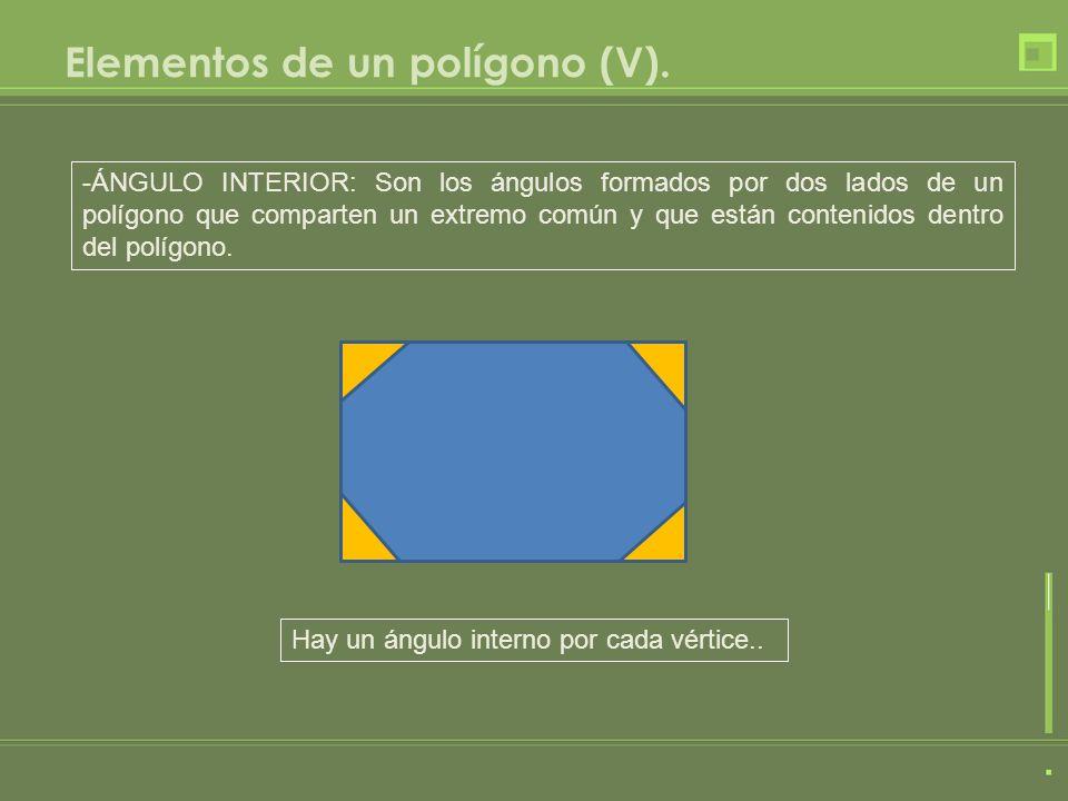 Elementos de un polígono (V). -ÁNGULO INTERIOR: Son los ángulos formados por dos lados de un polígono que comparten un extremo común y que están conte