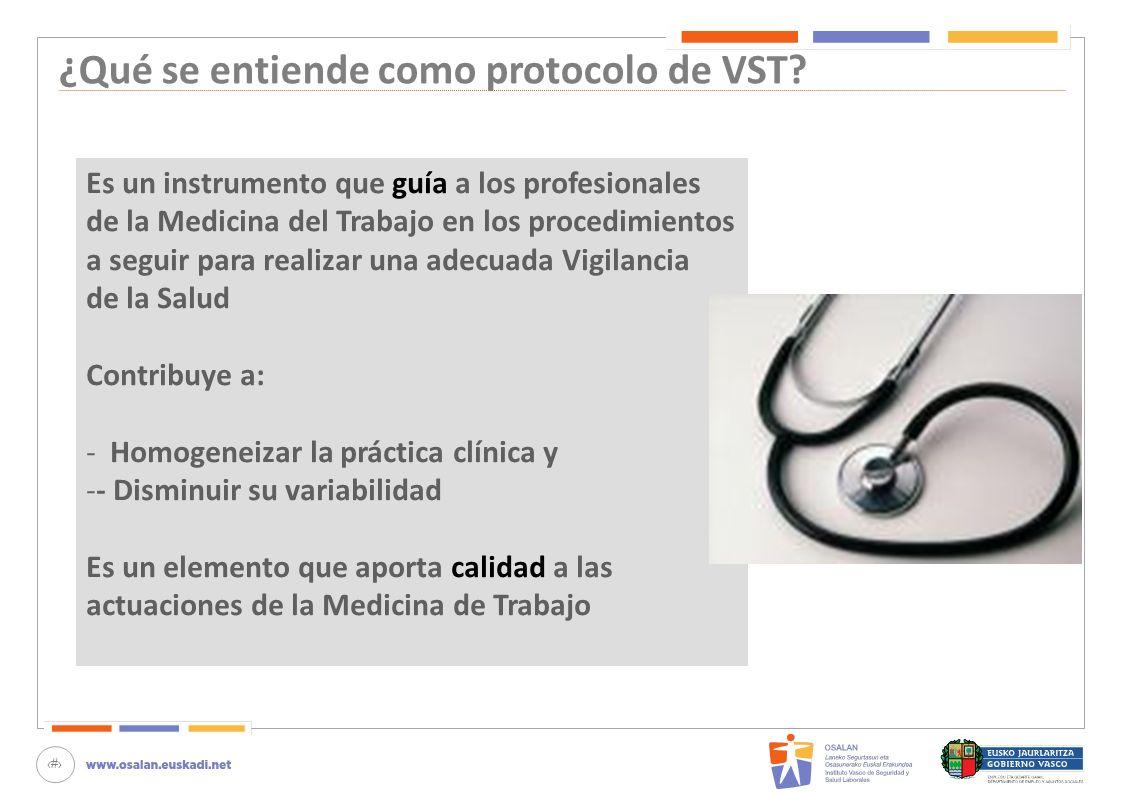 10 ¿Qué se entiende como protocolo de VST? Es un instrumento que guía a los profesionales de la Medicina del Trabajo en los procedimientos a seguir pa