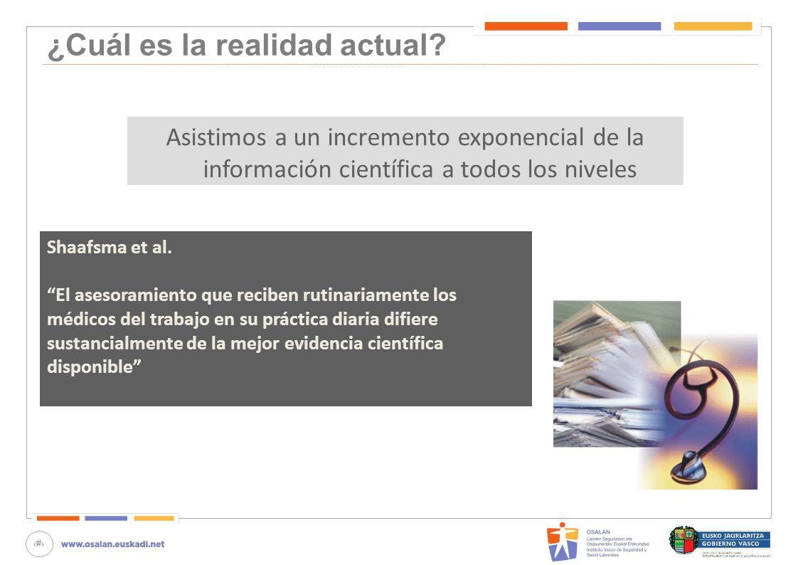 11 ¿Cuál es la realidad actual? Asistimos a un incremento exponencial de la información científica a todos los niveles Shaafsma et al. El asesoramient