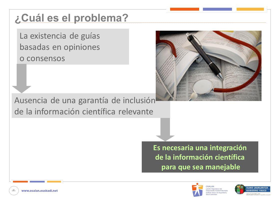 12 ¿Cuál es el problema? La existencia de guías basadas en opiniones o consensos Ausencia de una garantía de inclusión de la información científica re