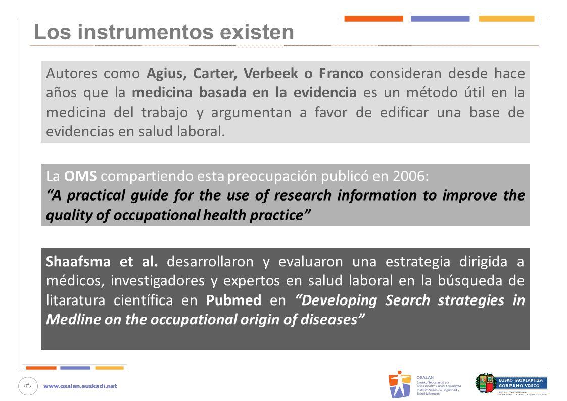 15 Los instrumentos existen Autores como Agius, Carter, Verbeek o Franco consideran desde hace años que la medicina basada en la evidencia es un métod