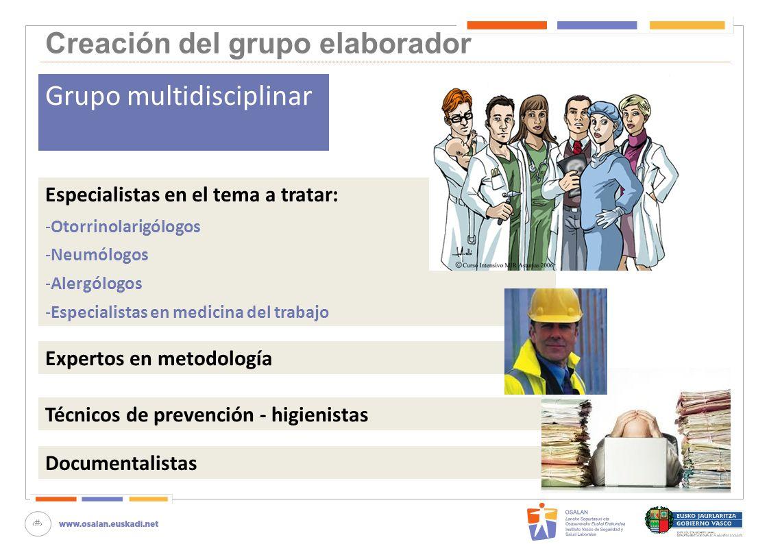 24 Creación del grupo elaborador Grupo multidisciplinar Especialistas en el tema a tratar: -Otorrinolarigólogos -Neumólogos -Alergólogos -Especialista