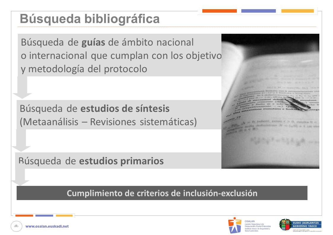 30 Búsqueda bibliográfica Cumplimiento de criterios de inclusión-exclusión Búsqueda de guías de ámbito nacional o internacional que cumplan con los ob