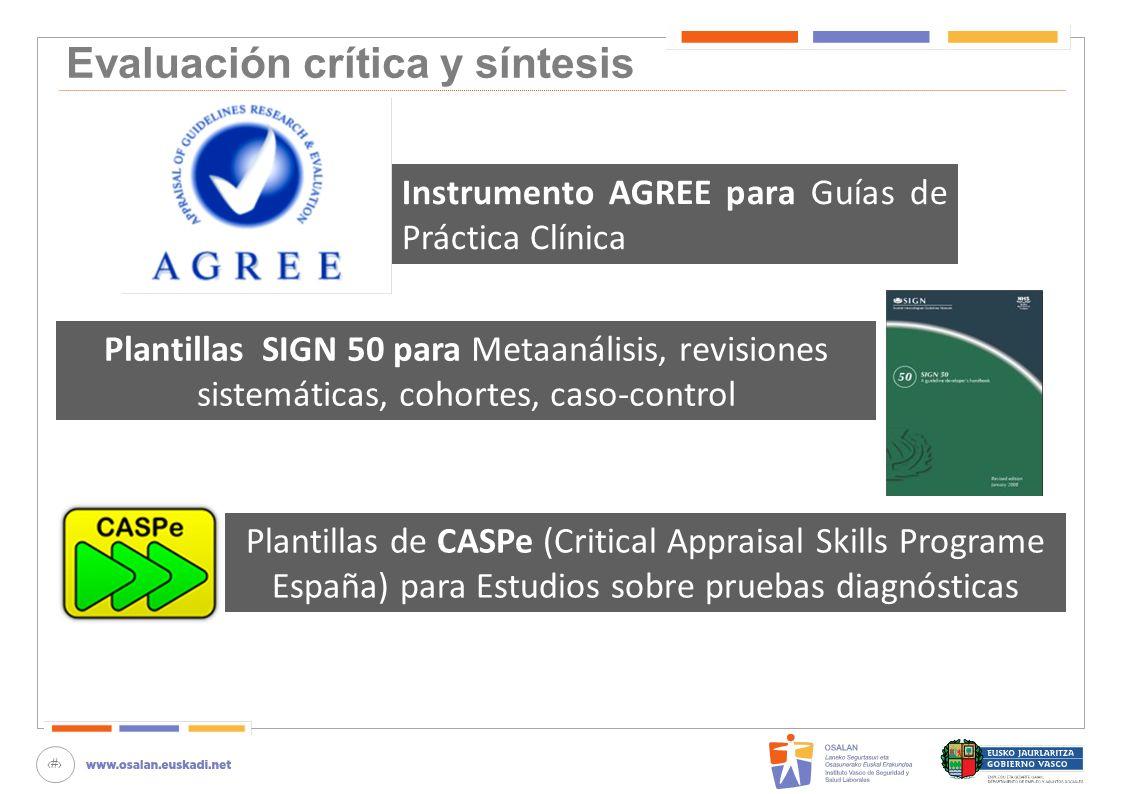 31 Evaluación crítica y síntesis Instrumento AGREE para Guías de Práctica Clínica Plantillas SIGN 50 para Metaanálisis, revisiones sistemáticas, cohor