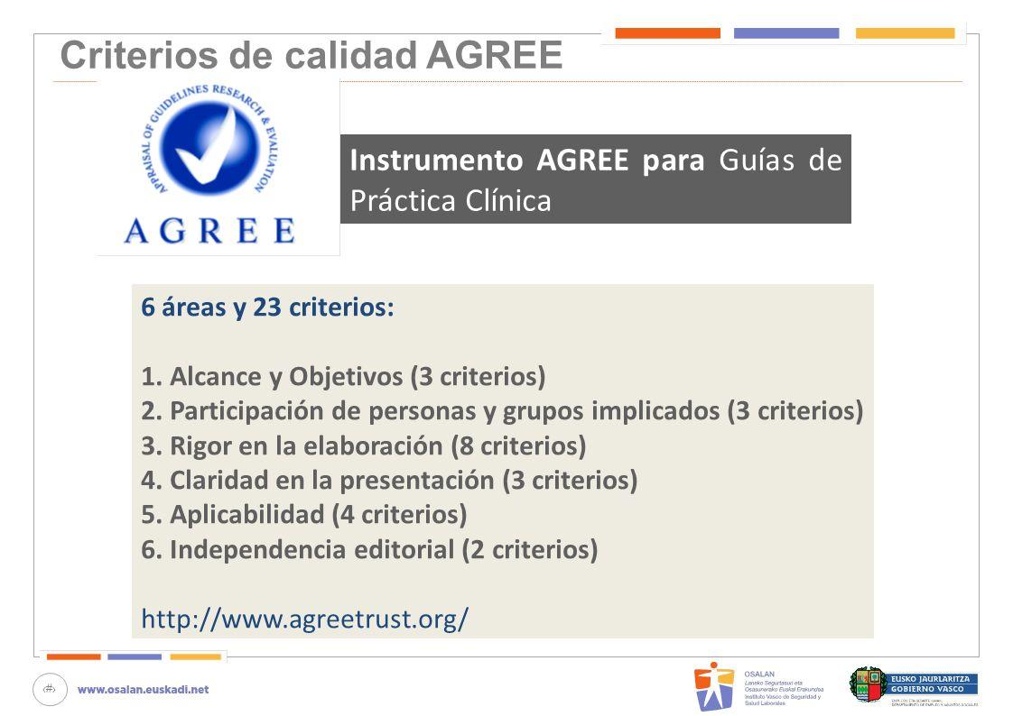 32 Criterios de calidad AGREE 6 áreas y 23 criterios: 1. Alcance y Objetivos (3 criterios) 2. Participación de personas y grupos implicados (3 criteri