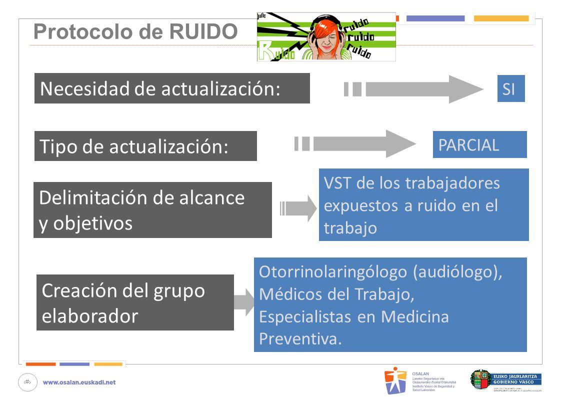 46 Protocolo de RUIDO Creación del grupo elaborador Otorrinolaringólogo (audiólogo), Médicos del Trabajo, Especialistas en Medicina Preventiva. Necesi