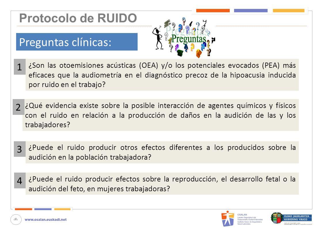 47 Protocolo de RUIDO Preguntas clínicas: ¿Son las otoemisiones acústicas (OEA) y/o los potenciales evocados (PEA) más eficaces que la audiometría en