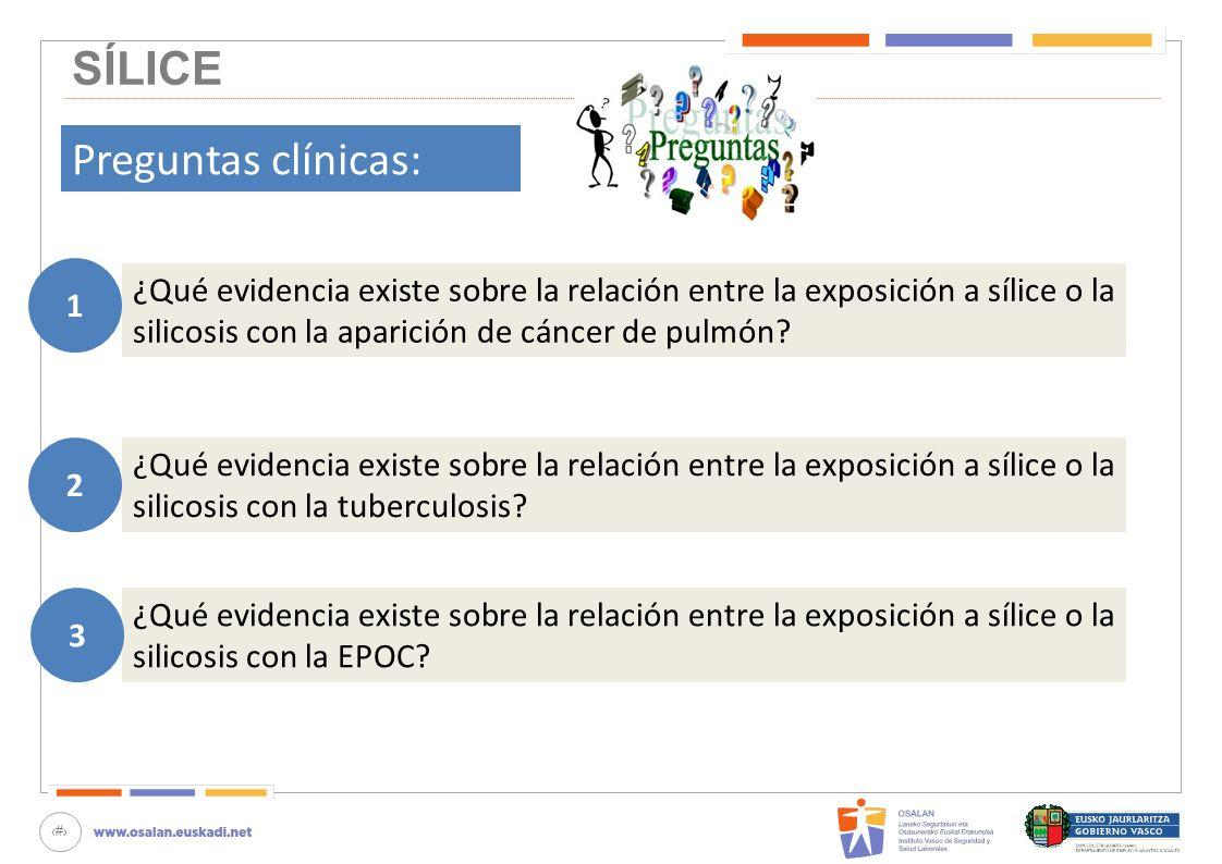 60 SÍLICE Preguntas clínicas: ¿Qué evidencia existe sobre la relación entre la exposición a sílice o la silicosis con la aparición de cáncer de pulmón