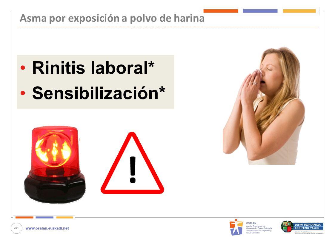 68 Asma por exposición a polvo de harina Rinitis laboral* Sensibilización*