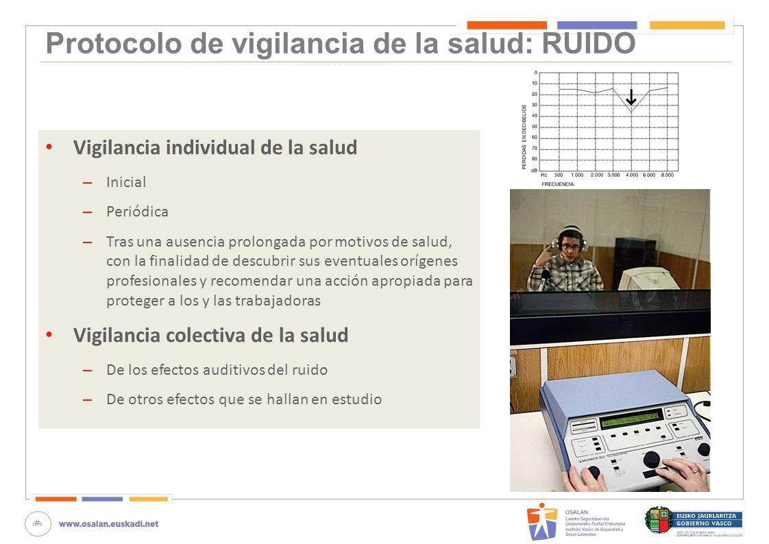 74 Protocolo de vigilancia de la salud: RUIDO Vigilancia individual de la salud – Inicial – Periódica – Tras una ausencia prolongada por motivos de sa