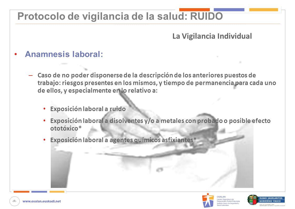 75 Protocolo de vigilancia de la salud: RUIDO Anamnesis laboral: – Caso de no poder disponerse de la descripción de los anteriores puestos de trabajo:
