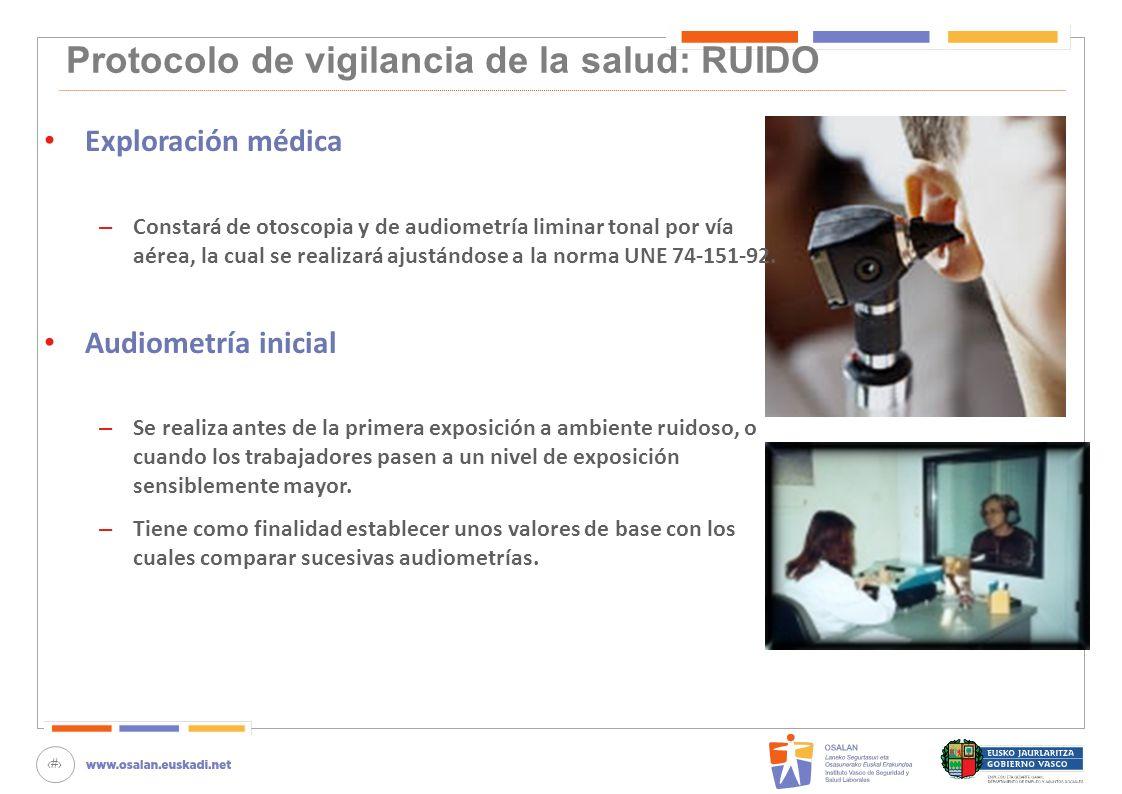 78 Protocolo de vigilancia de la salud: RUIDO Exploración médica – Constará de otoscopia y de audiometría liminar tonal por vía aérea, la cual se real