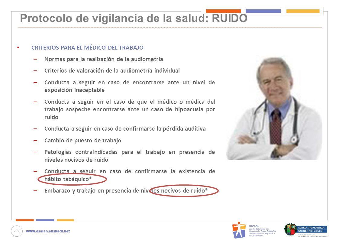 79 Protocolo de vigilancia de la salud: RUIDO CRITERIOS PARA EL MÉDICO DEL TRABAJO – Normas para la realización de la audiometría – Criterios de valor