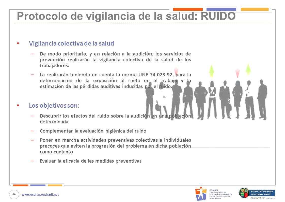 80 Protocolo de vigilancia de la salud: RUIDO Vigilancia colectiva de la salud – De modo prioritario, y en relación a la audición, los servicios de pr