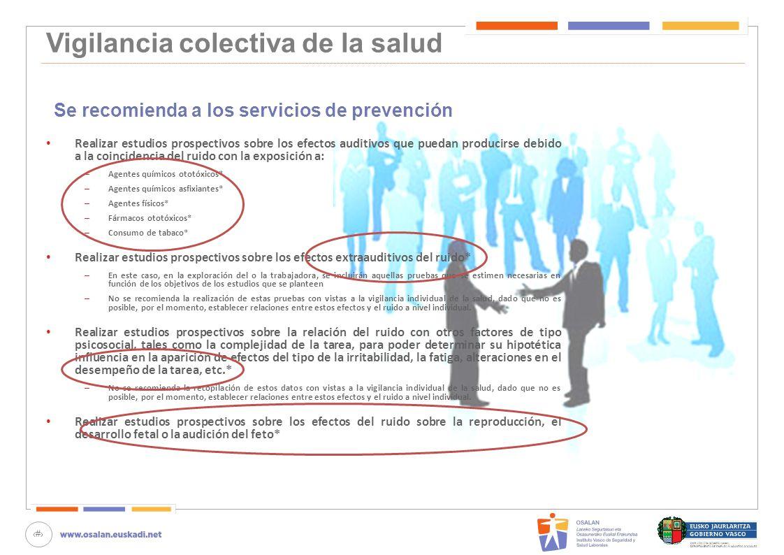 81 Vigilancia colectiva de la salud Se recomienda a los servicios de prevención Realizar estudios prospectivos sobre los efectos auditivos que puedan