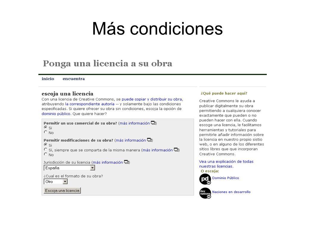 Más condiciones