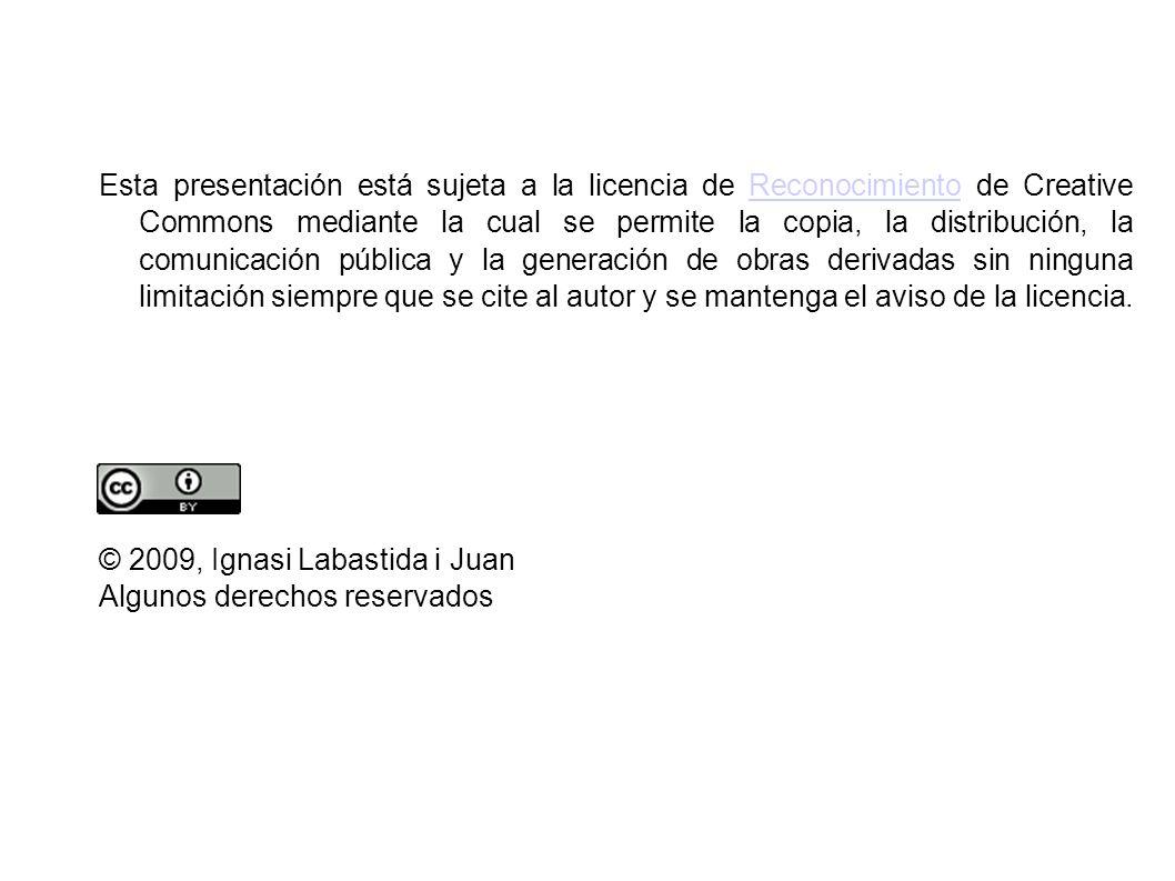 Esta presentación está sujeta a la licencia de Reconocimiento de Creative Commons mediante la cual se permite la copia, la distribución, la comunicaci