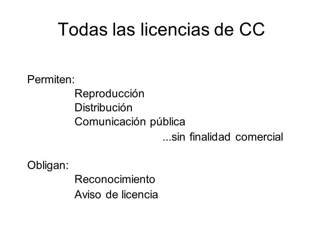 Todas las licencias de CC Permiten: Reproducción Distribución Comunicación pública...sin finalidad comercial Obligan: Reconocimiento Aviso de licencia