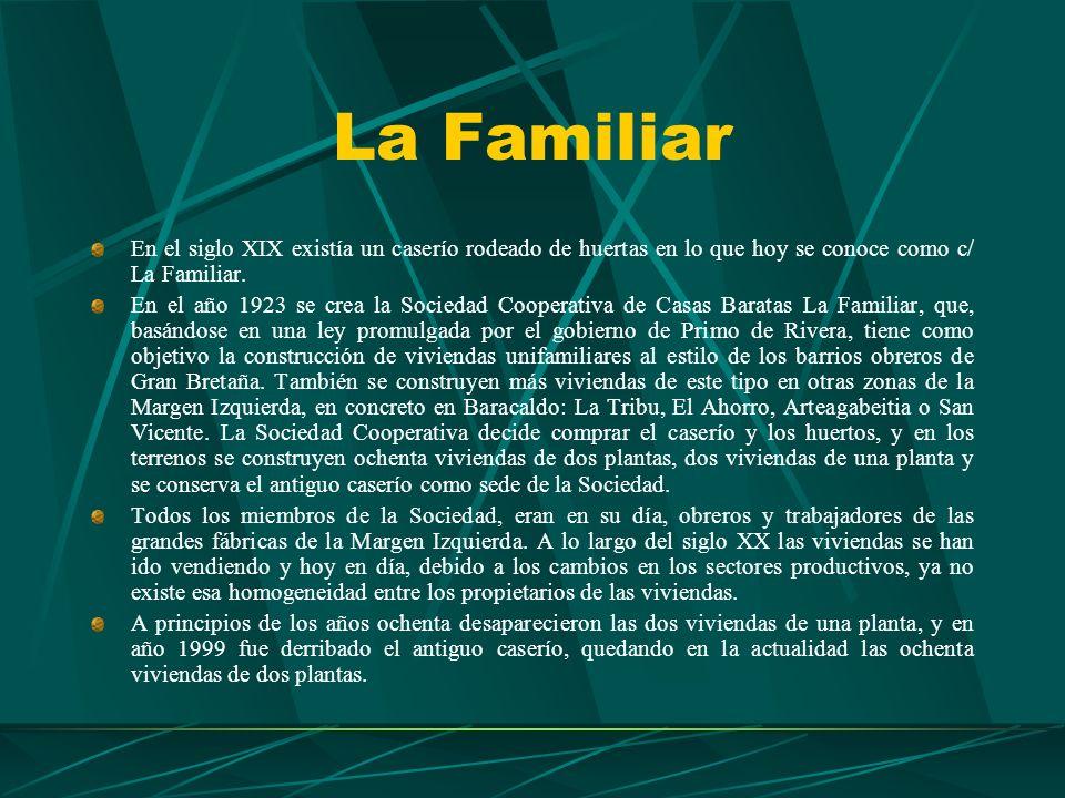 La Familiar En el siglo XIX existía un caserío rodeado de huertas en lo que hoy se conoce como c/ La Familiar.