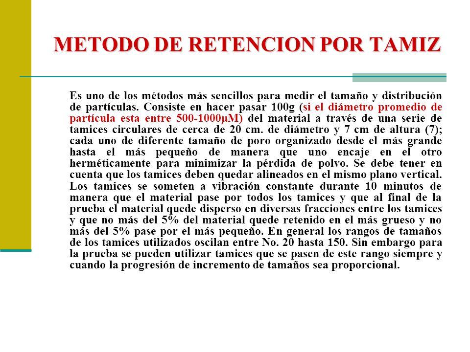 METODO DE RETENCION POR TAMIZ Es uno de los métodos más sencillos para medir el tamaño y distribución de partículas. Consiste en hacer pasar 100g (si