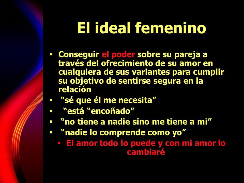 El ideal femenino Conseguir el poder sobre su pareja a través del ofrecimiento de su amor en cualquiera de sus variantes para cumplir su objetivo de s