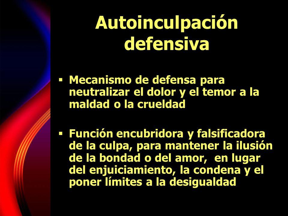 Autoinculpación defensiva Mecanismo de defensa para neutralizar el dolor y el temor a la maldad o la crueldad Función encubridora y falsificadora de l