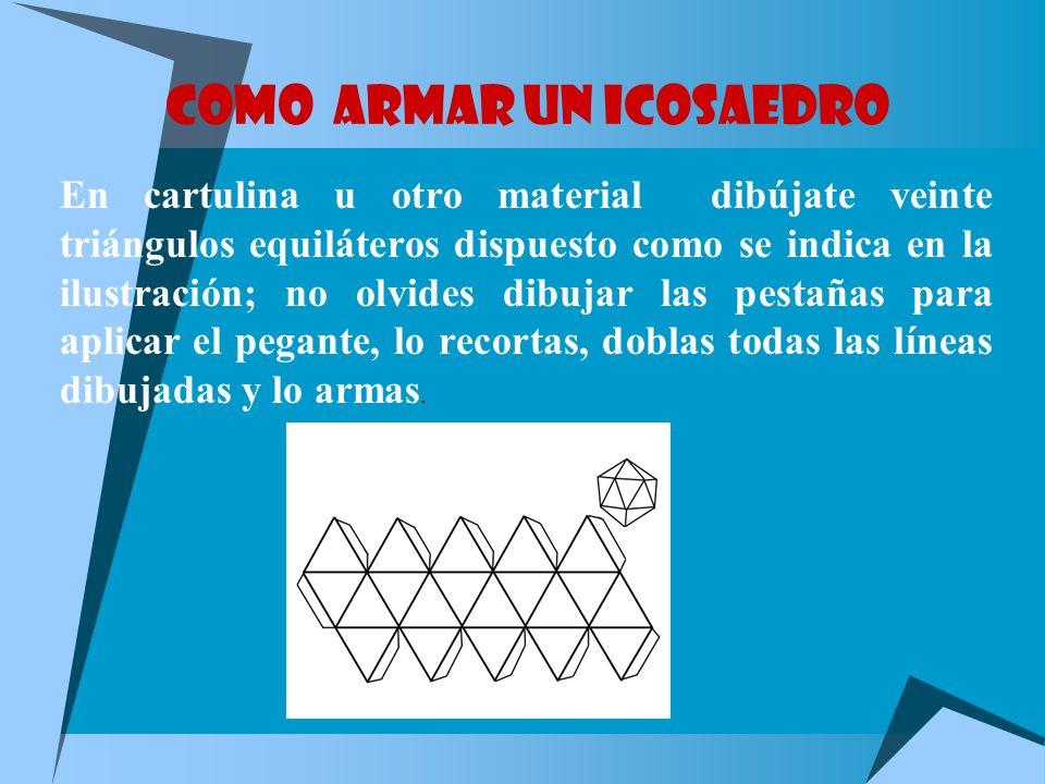 ICOSAEDRO REGULAR Formado por veinte triángulos equiláteros. Es el que tiene mayor volumen en relación con su superficie. Tiene 20 caras, 30 aristas y