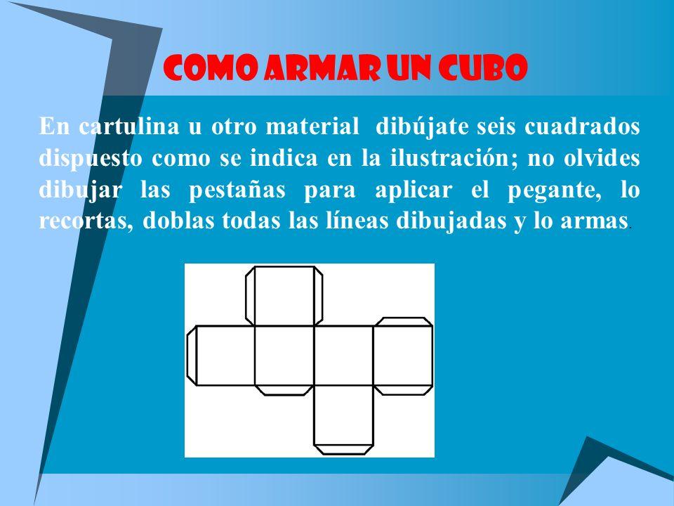 HEXAEDRO REGULAR O CUBO Formado por seis cuadrados. Permanece estable sobre su base. Está formado por 6 caras, 12 aristas y 8 vértices.