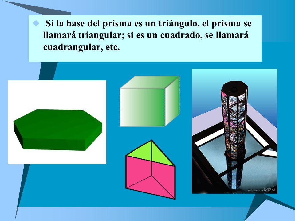 * Un prisma se llama recto cuando sus aristas laterales son perpendiculares a las bases y oblicuo en caso contrario. * La altura de un prisma será el