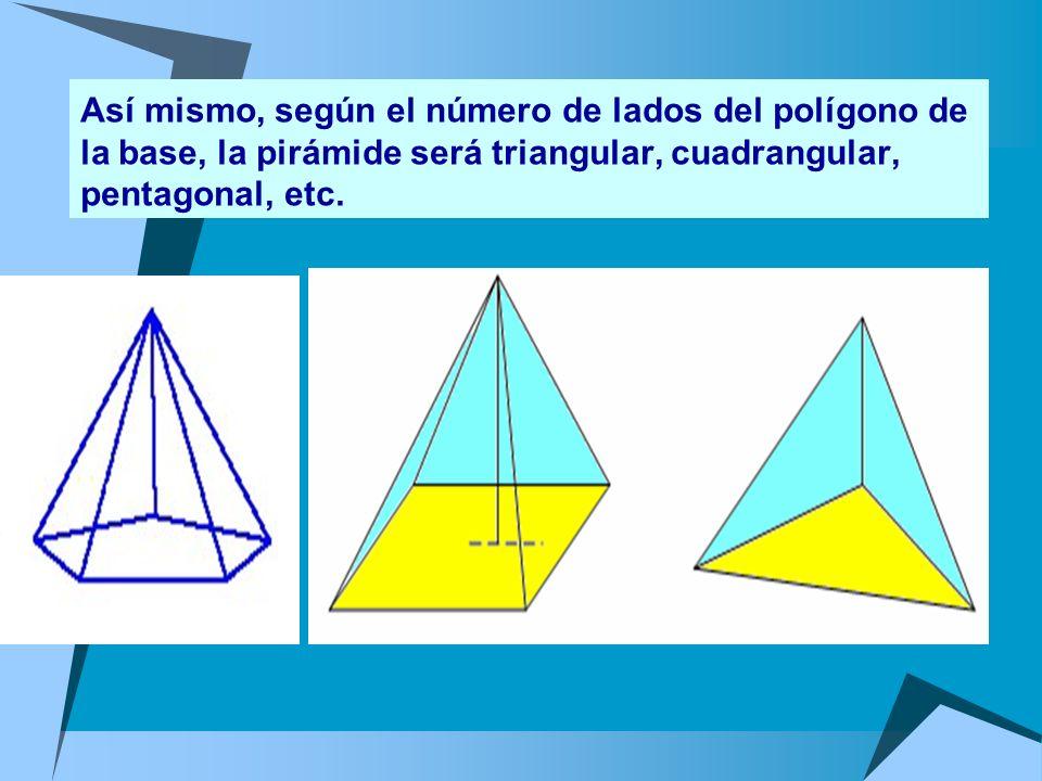 Las pirámides se puede clasificar de forma análoga a los prismas. Así, hay pirámides rectas y oblicuas, según que el centro del polígono de la base co