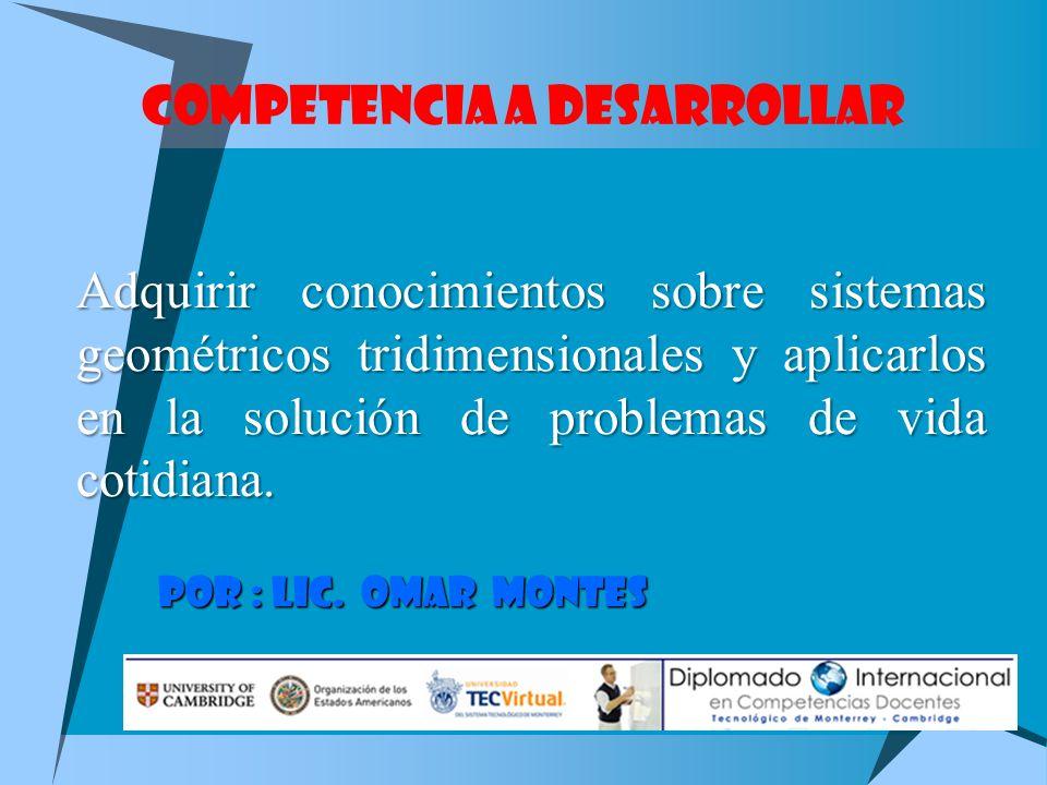 COMPETENCIA A DESARROLLAR Adquirir conocimientos sobre sistemas geométricos tridimensionales y aplicarlos en la solución de problemas de vida cotidiana.