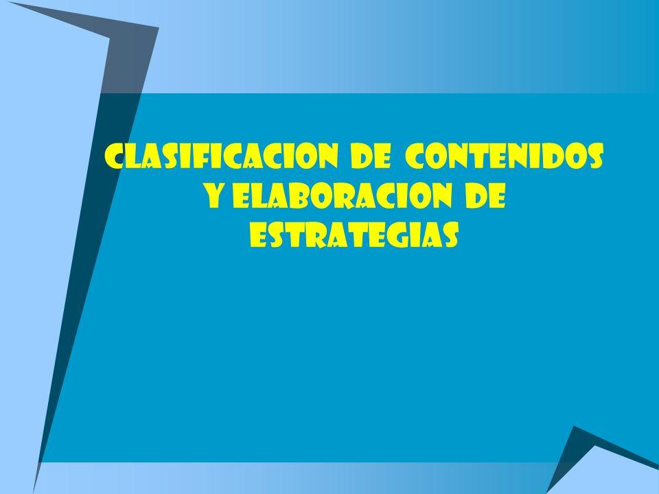 CLASIFICACION DE CONTENIDOS Y ELABORACION DE ESTRATEGIAS