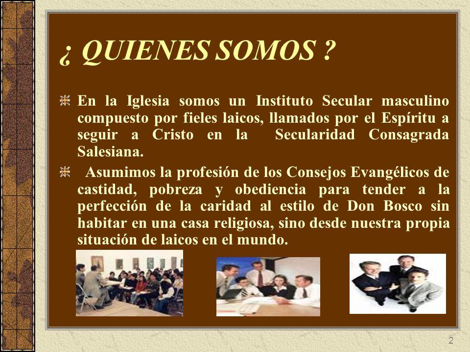 2 ¿ QUIENES SOMOS ? En la Iglesia somos un Instituto Secular masculino compuesto por fieles laicos, llamados por el Espíritu a seguir a Cristo en la S