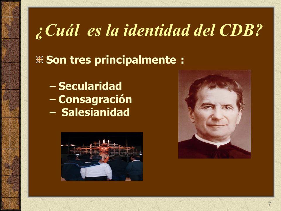 7 ¿Cuál es la identidad del CDB? Son tres principalmente : –Secularidad –Consagración – Salesianidad