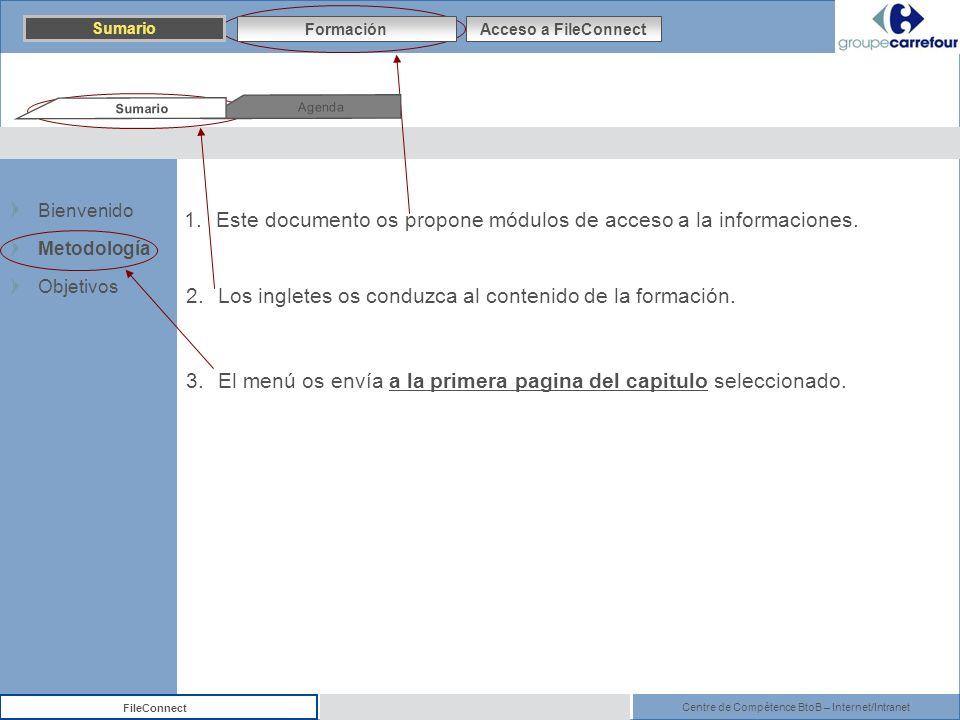 Centre de Compétence BtoB – Internet/Intranet FileConnect 1.Este documento os propone módulos de acceso a la informaciones. 3.El menú os envía a la pr