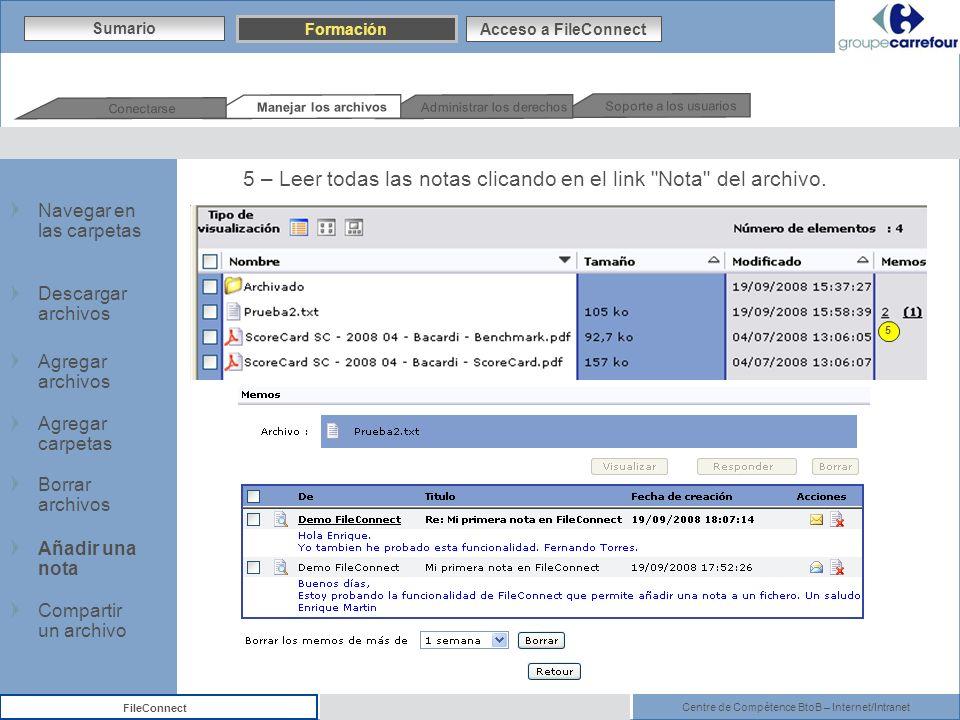 Centre de Compétence BtoB – Internet/Intranet FileConnect 5 – Leer todas las notas clicando en el link