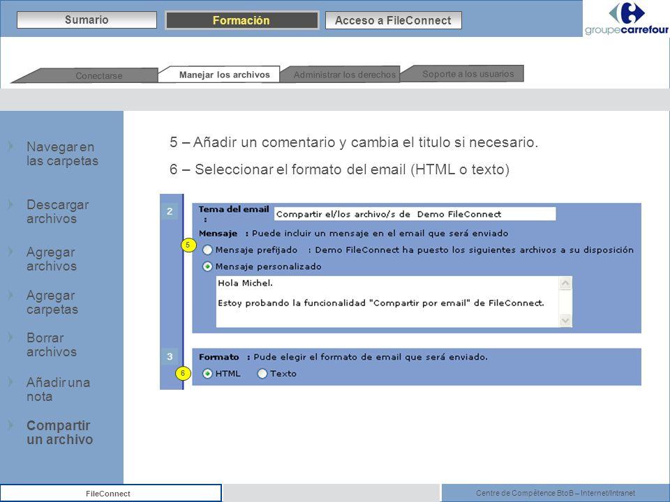 Centre de Compétence BtoB – Internet/Intranet FileConnect 5 – Añadir un comentario y cambia el titulo si necesario. 6 – Seleccionar el formato del ema