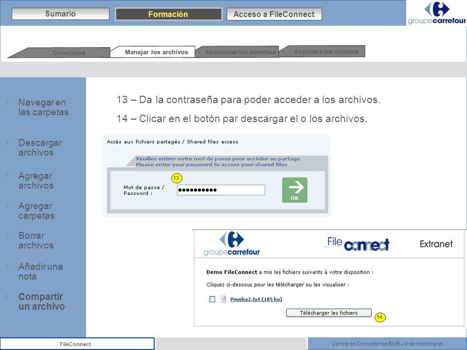 Centre de Compétence BtoB – Internet/Intranet FileConnect 13 – Da la contraseña para poder acceder a los archivos. 14 – Clicar en el botón par descarg