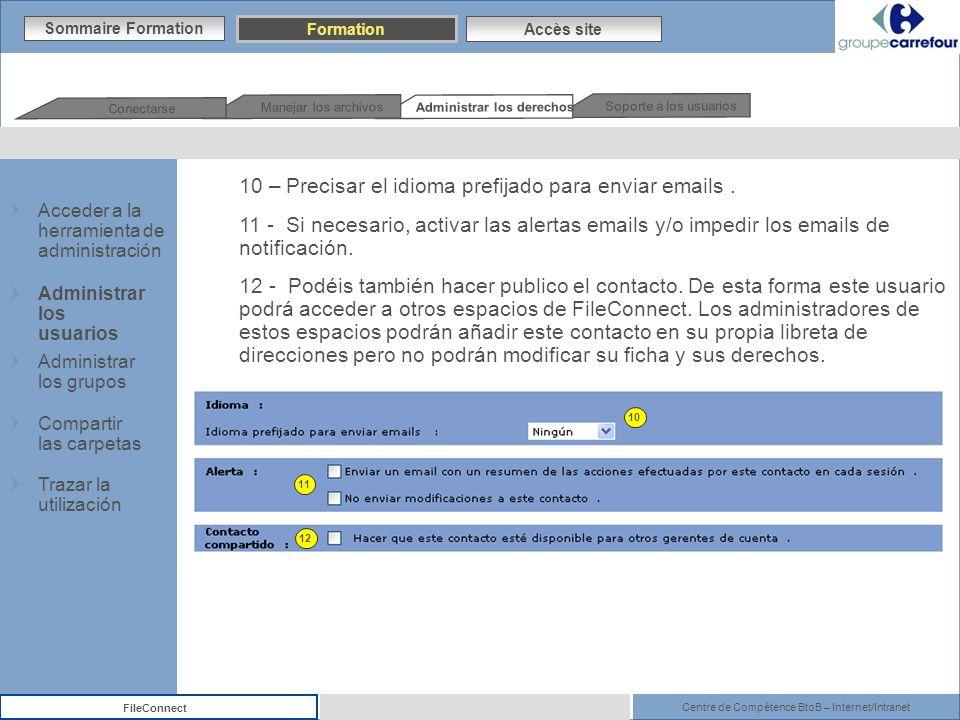 Centre de Compétence BtoB – Internet/Intranet FileConnect Sommaire Formation Accès site 10 – Precisar el idioma prefijado para enviar emails. 11 - Si