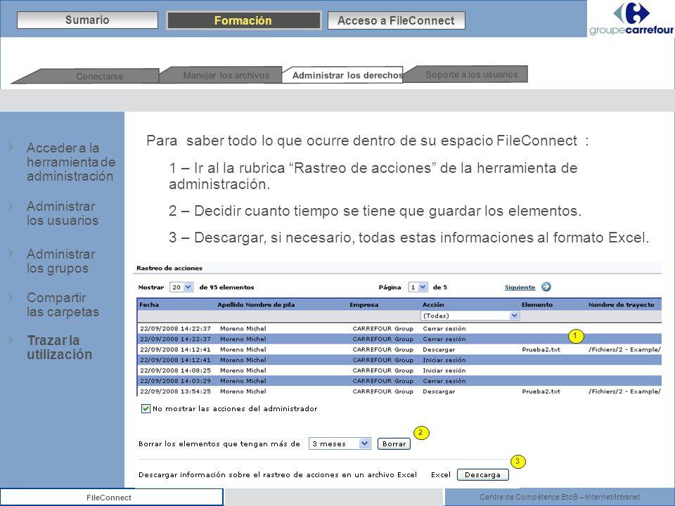 Centre de Compétence BtoB – Internet/Intranet FileConnect 1 2 3 Para saber todo lo que ocurre dentro de su espacio FileConnect : 1 – Ir al la rubrica