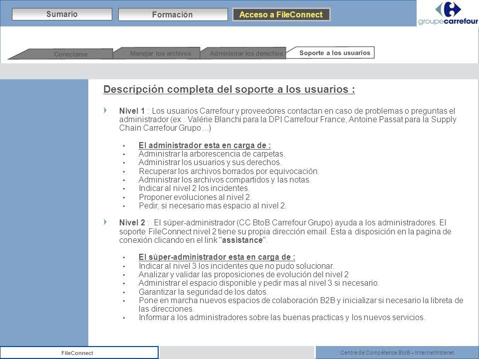 Centre de Compétence BtoB – Internet/Intranet FileConnect Sumario Formación Acceso a FileConnect Soporte a los usuarios Administrar los derechos Manej