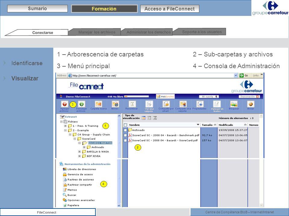 Centre de Compétence BtoB – Internet/Intranet FileConnect 1 2 1 – Arborescencia de carpetas 2 – Sub-carpetas y archivos 3 – Menú principal 4 – Consola